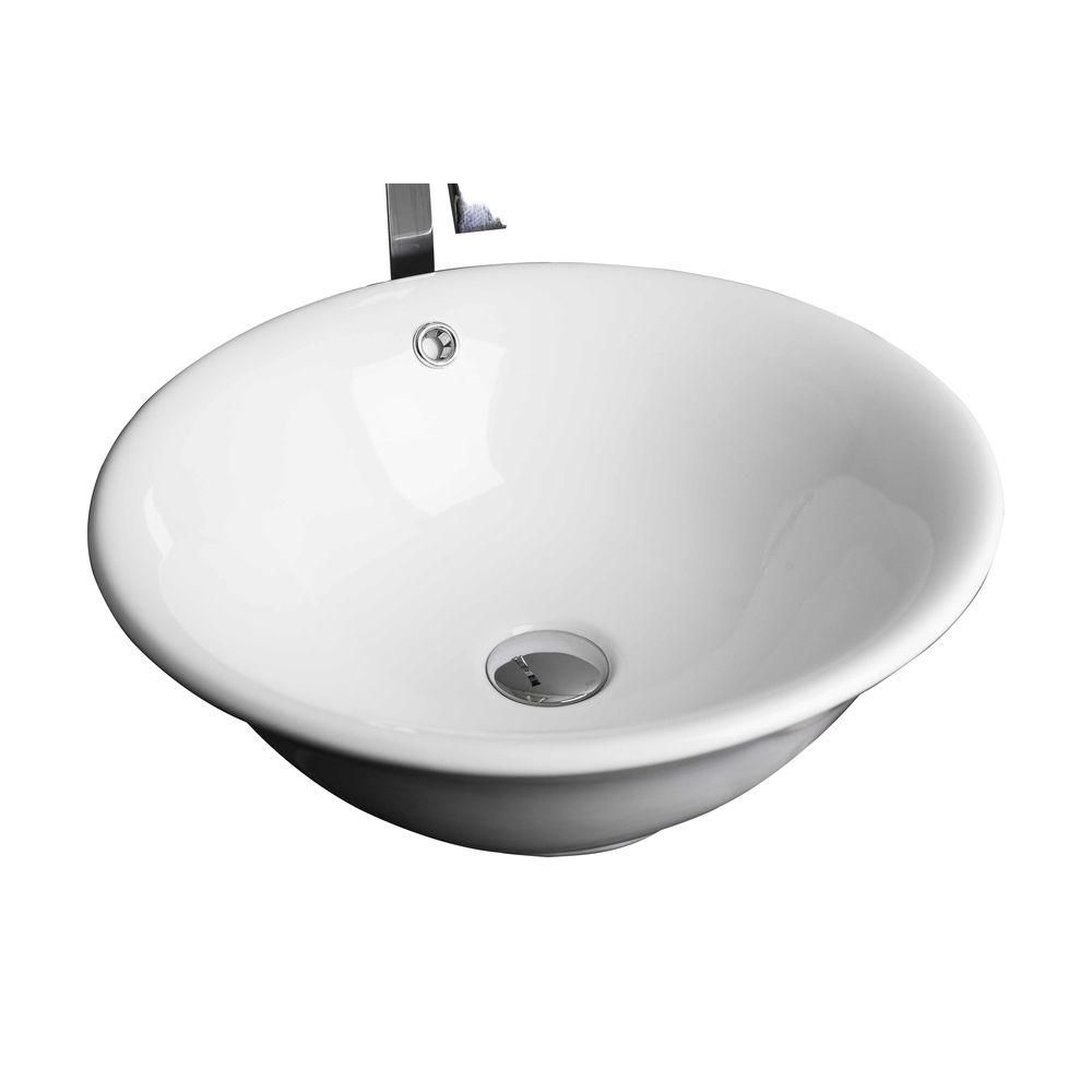 American Imaginations 18-inch W x 18-inch D Round Vessel Sink in White with Brushed Nickel