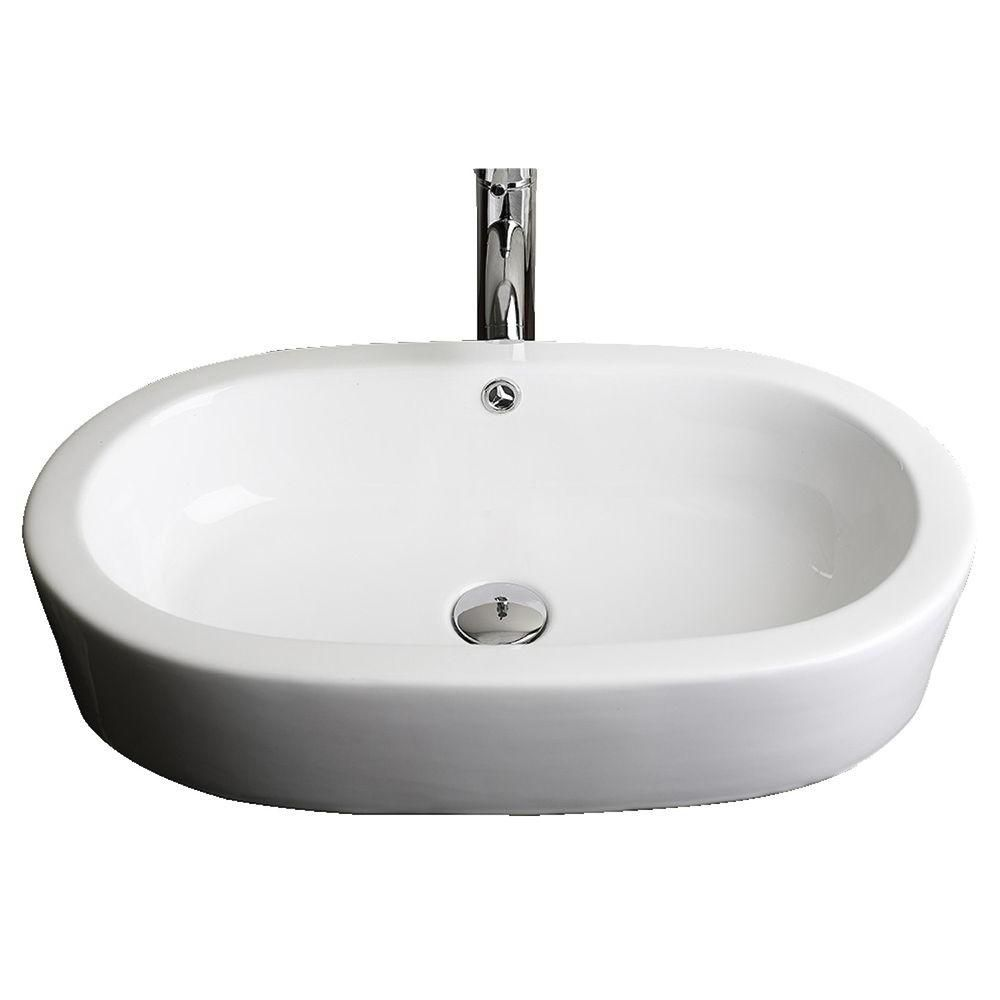 25-inch W x 15-inch D Semi-Recessed Oval Vessel Sink in White with Brushed Nickel
