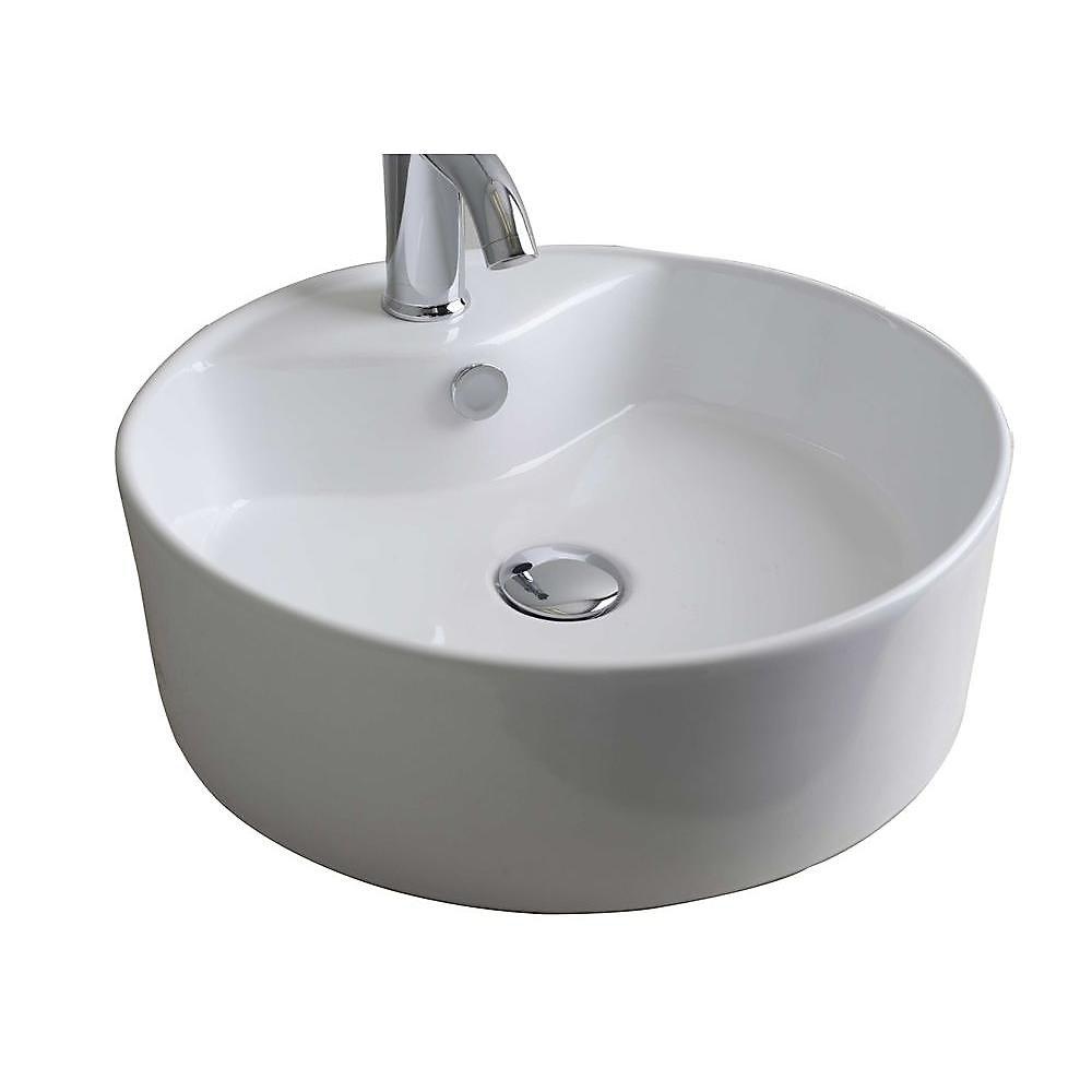 18 po W x 18 po navire d dessus de contre- ronde de couleur blanche pour robinet simple trou - chrome