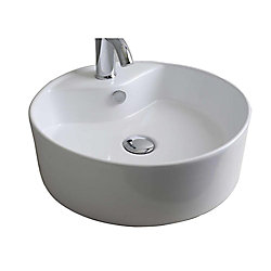 American Imaginations 18-inch W x 18-inch D Round Vessel Sink in White with Chrome