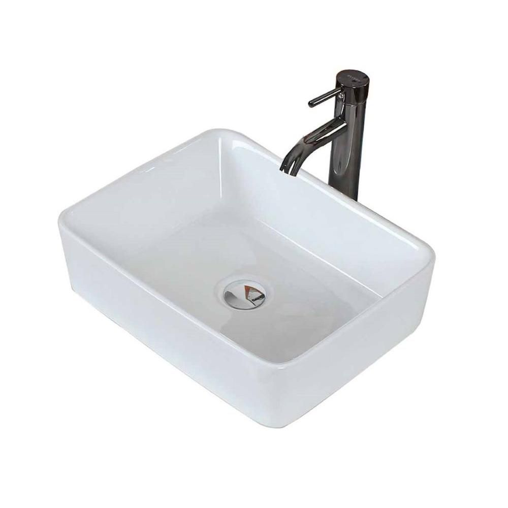 19-inch W x 14-inch D Rectangular Vessel Sink in White with Chrome