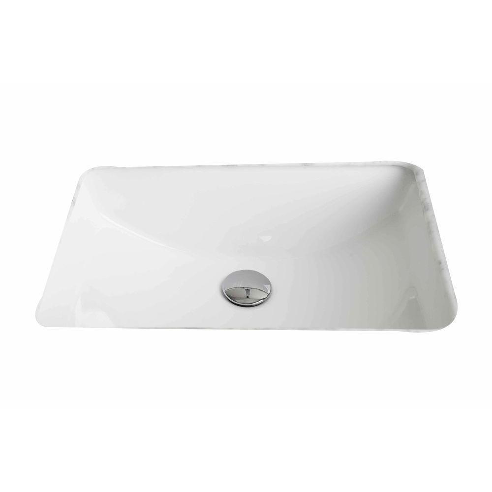 21-inch W x 15-inch D Rectangular Undermount Sink in White with Glaze Finish in Chrome