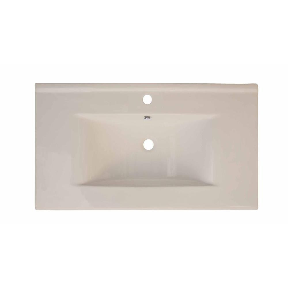 36-inch W x 20-inch D Ceramic Top in Biscuit for Single Hole Faucet in Brushed Nickel
