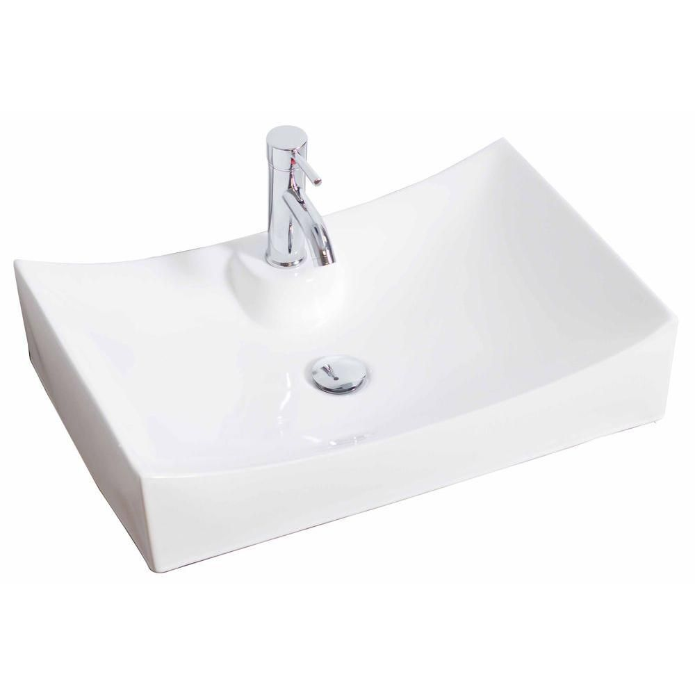 27-inch W x 18-inch D Rectangular Vessel Sink in White with Brushed Nickel