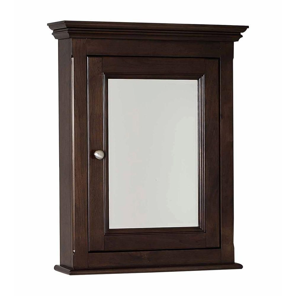 24 In. W X 30 In. H Traditional Birch Wood-Veneer Medicine Cabinet In Walnut - Chrome