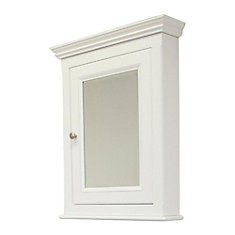 24 In. W X 30 In. H Traditional Birch Wood-Veneer Medicine Cabinet In White - Brushed Nickel