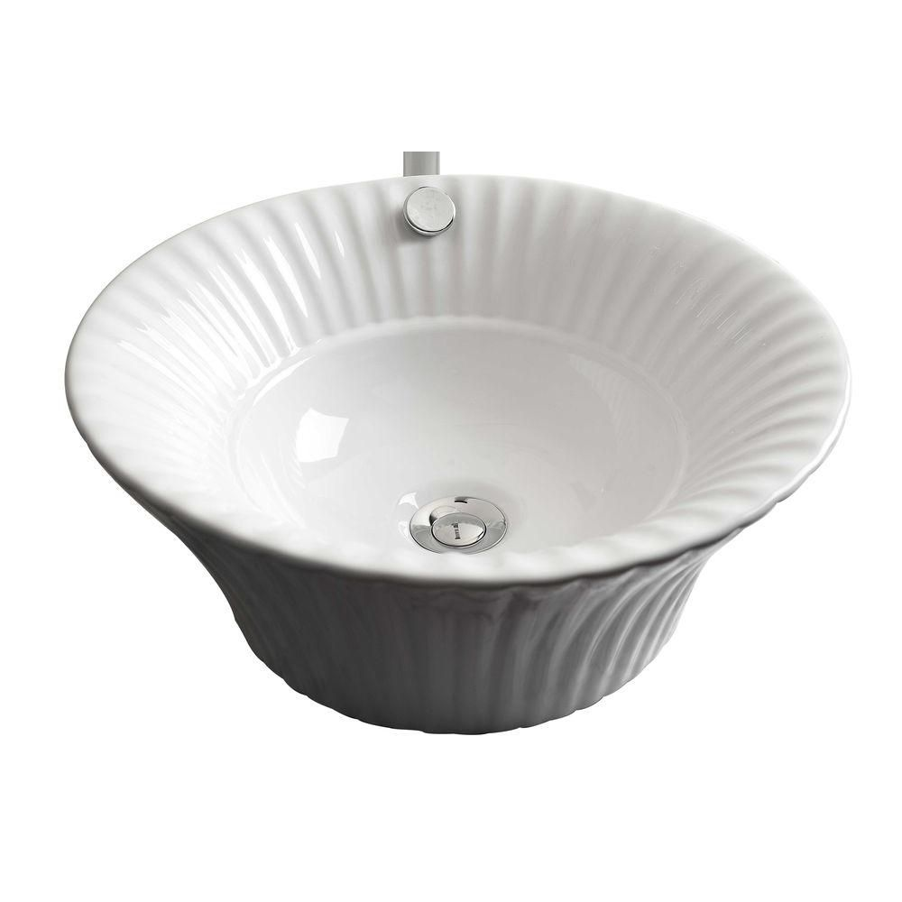American Imaginations 17-inch W x 17-inch D Round Vessel Sink in White with Brushed Nickel