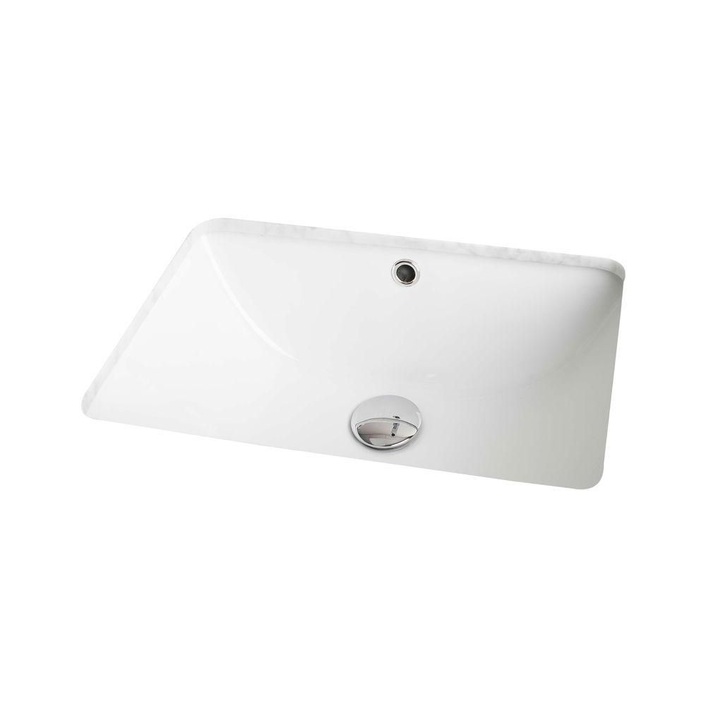 19-inch W x 14-inch D Rectangular Undermount Sink in White with Glaze Finish in Chrome