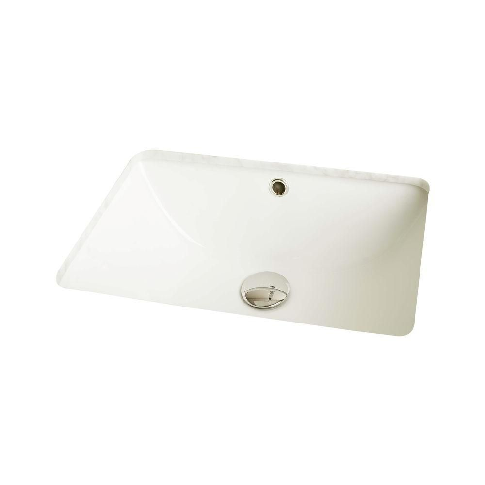 19-inch W x 14-inch D Rectangular Undermount Sink in Biscuit with Glaze Finish in Chrome