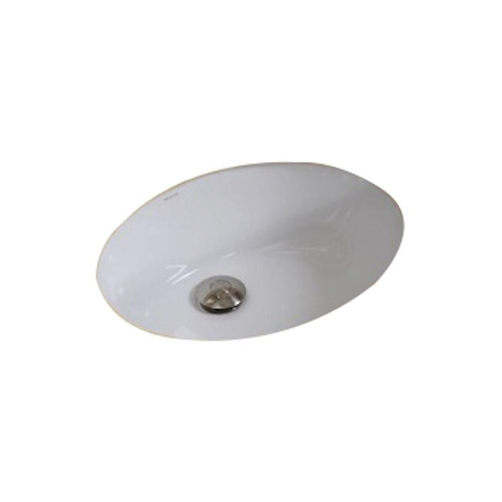20-inch W x 15-inch D Oval Undermount Sink in White with Glaze Finish in Brushed Nickel