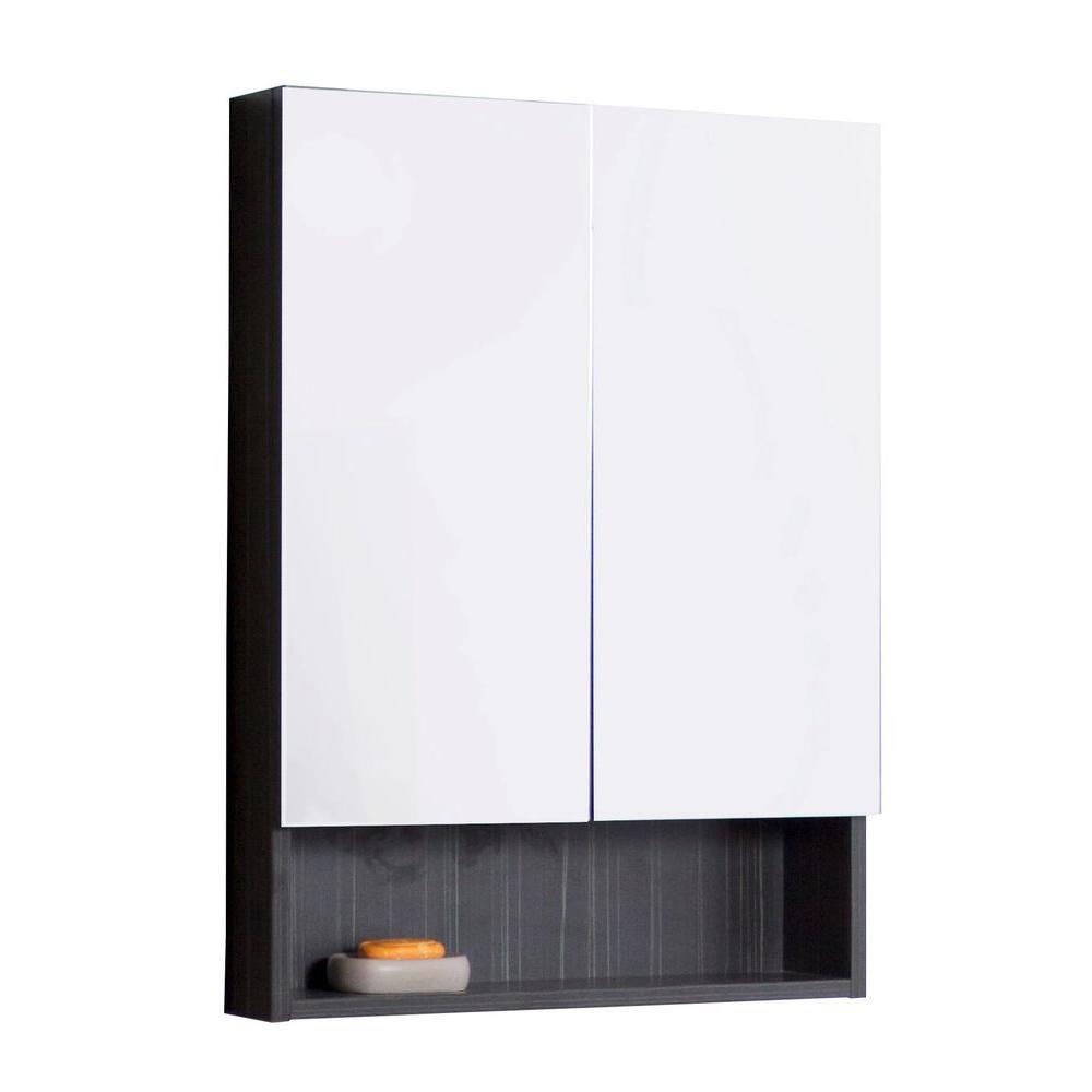 24 In. W X 32 In. H Modern Plywood-Melamine Medicine Cabinet In Dawn Grey - Brushed Nickel