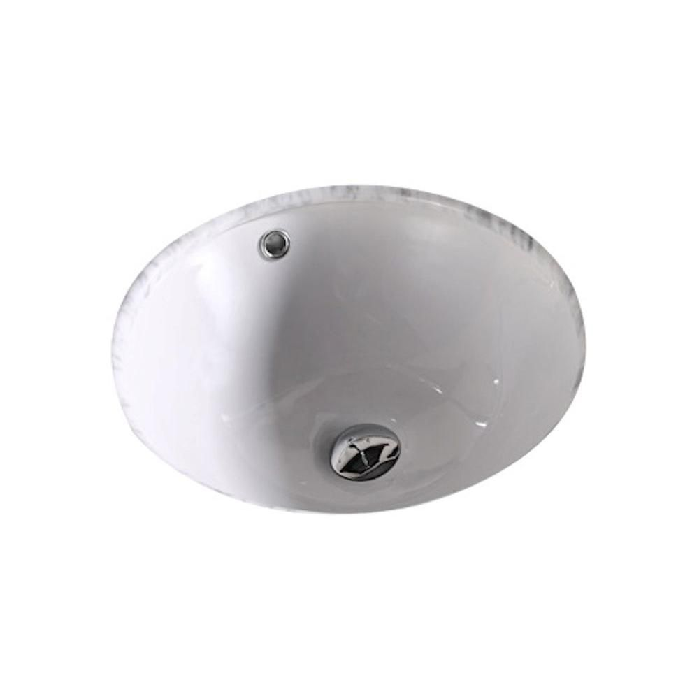 16-inch W x 16-inch D Round Undermount Sink in White with Enamel Glaze Finish in Brushed Nickel