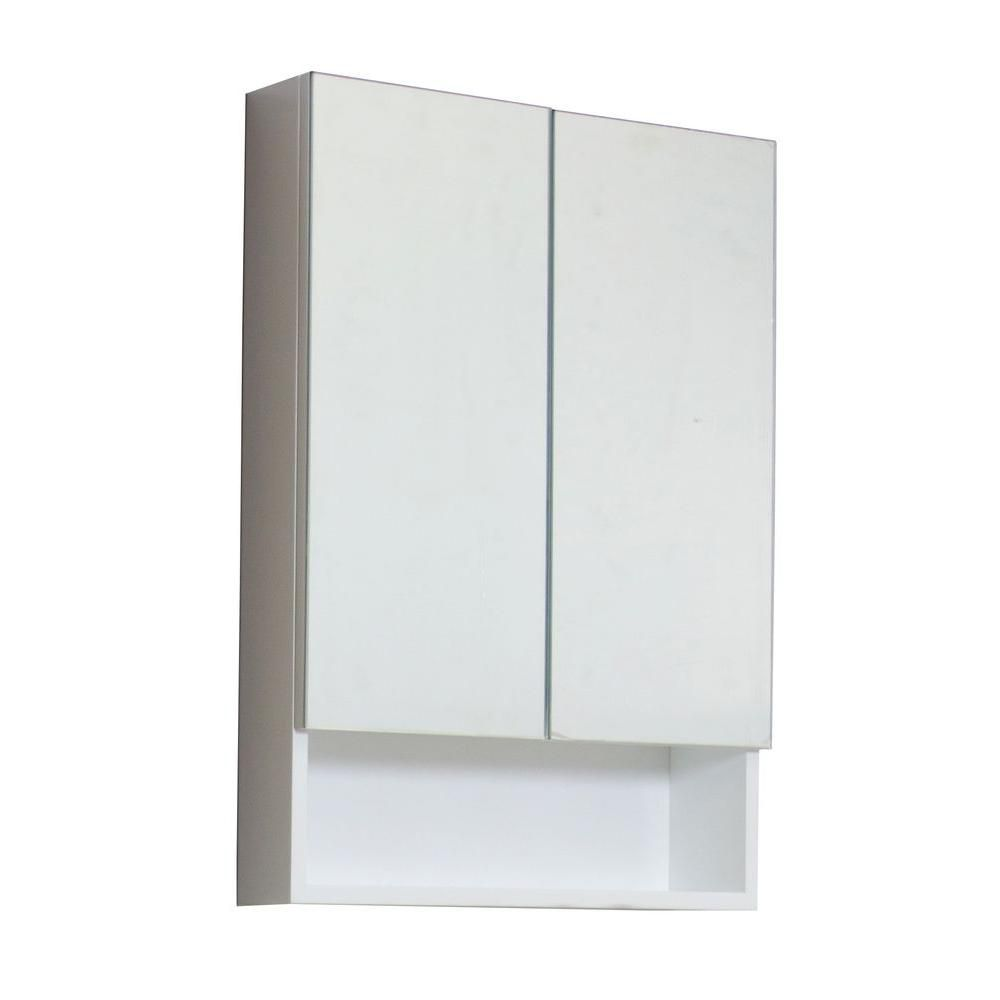 24 In. W X 32 In. H Modern Plywood-Veneer Medicine Cabinet In White - Chrome