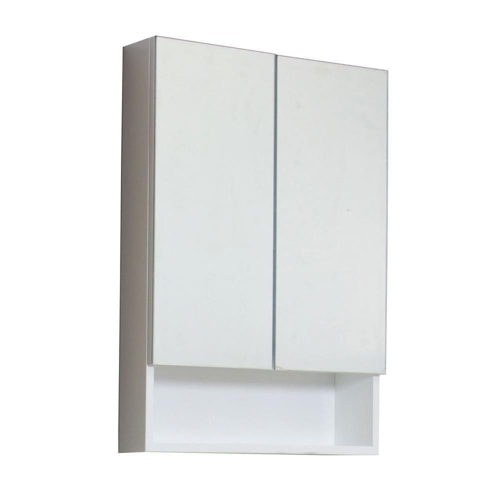 American Imaginations 24 In. W X 32 In. H Modern Plywood-Veneer Medicine Cabinet In White - Brushed Nickel