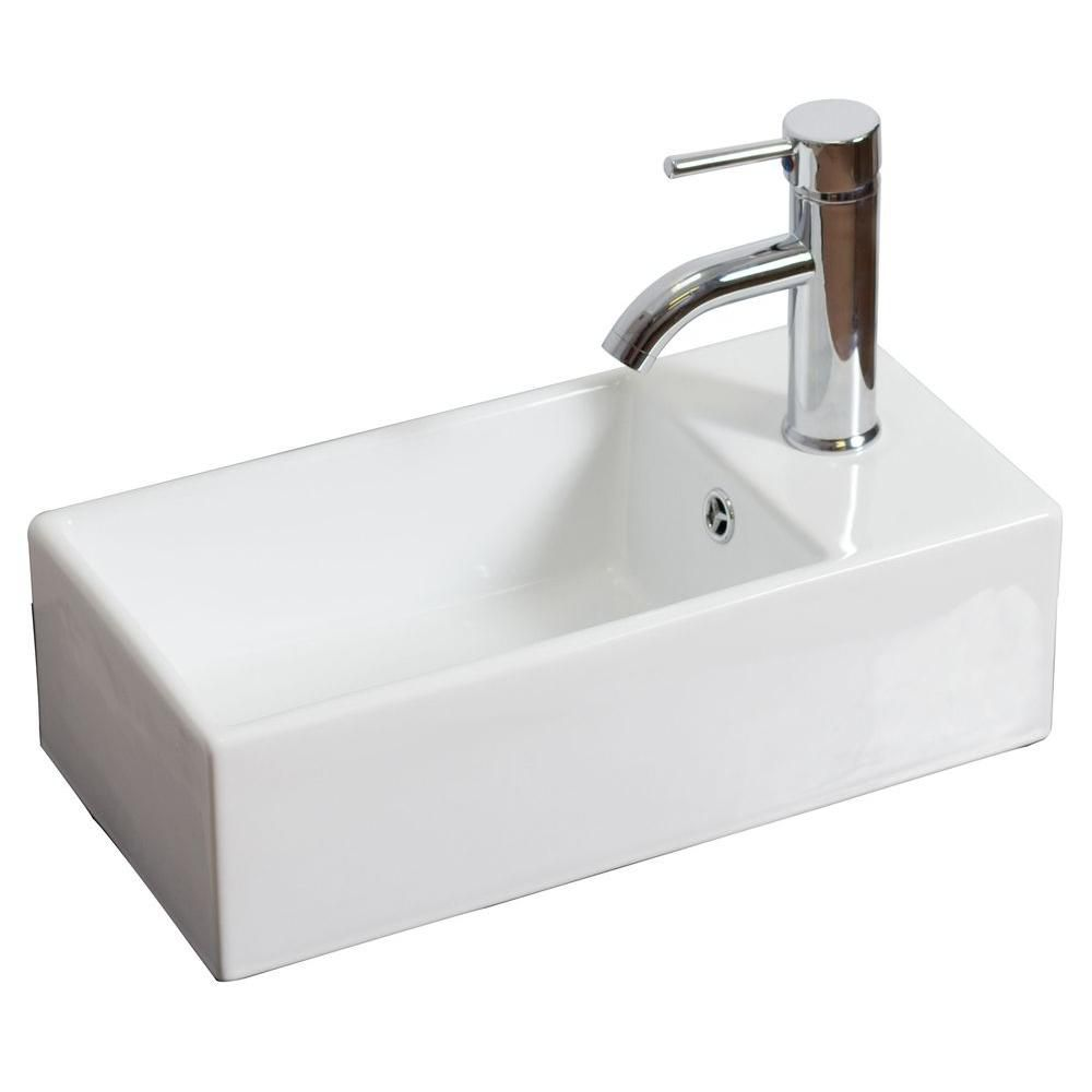 American Imaginations 18 Inch W X 10 Inch D Rectangular Vessel Sink In White With Chrome The