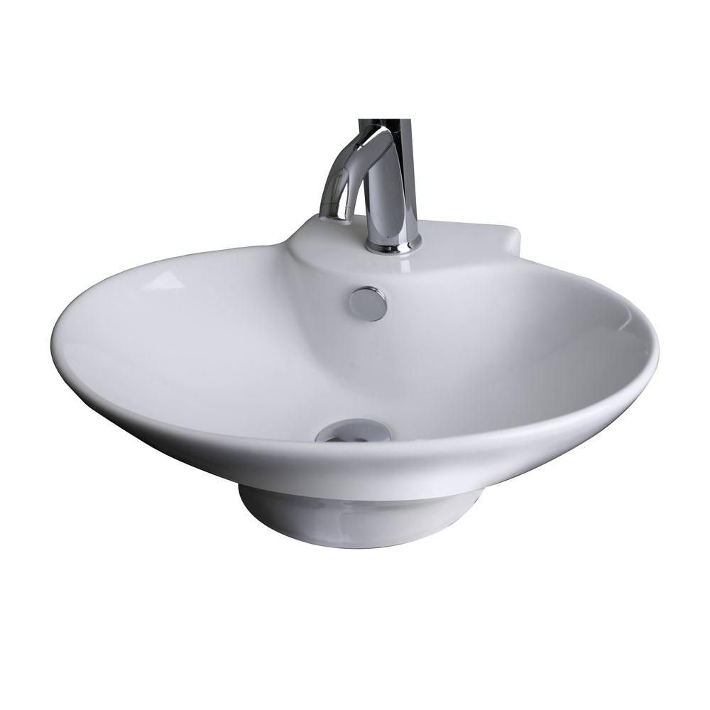 American Imaginations 21-inch W x 15-inch D Oval Vessel Sink in White with Brushed Nickel