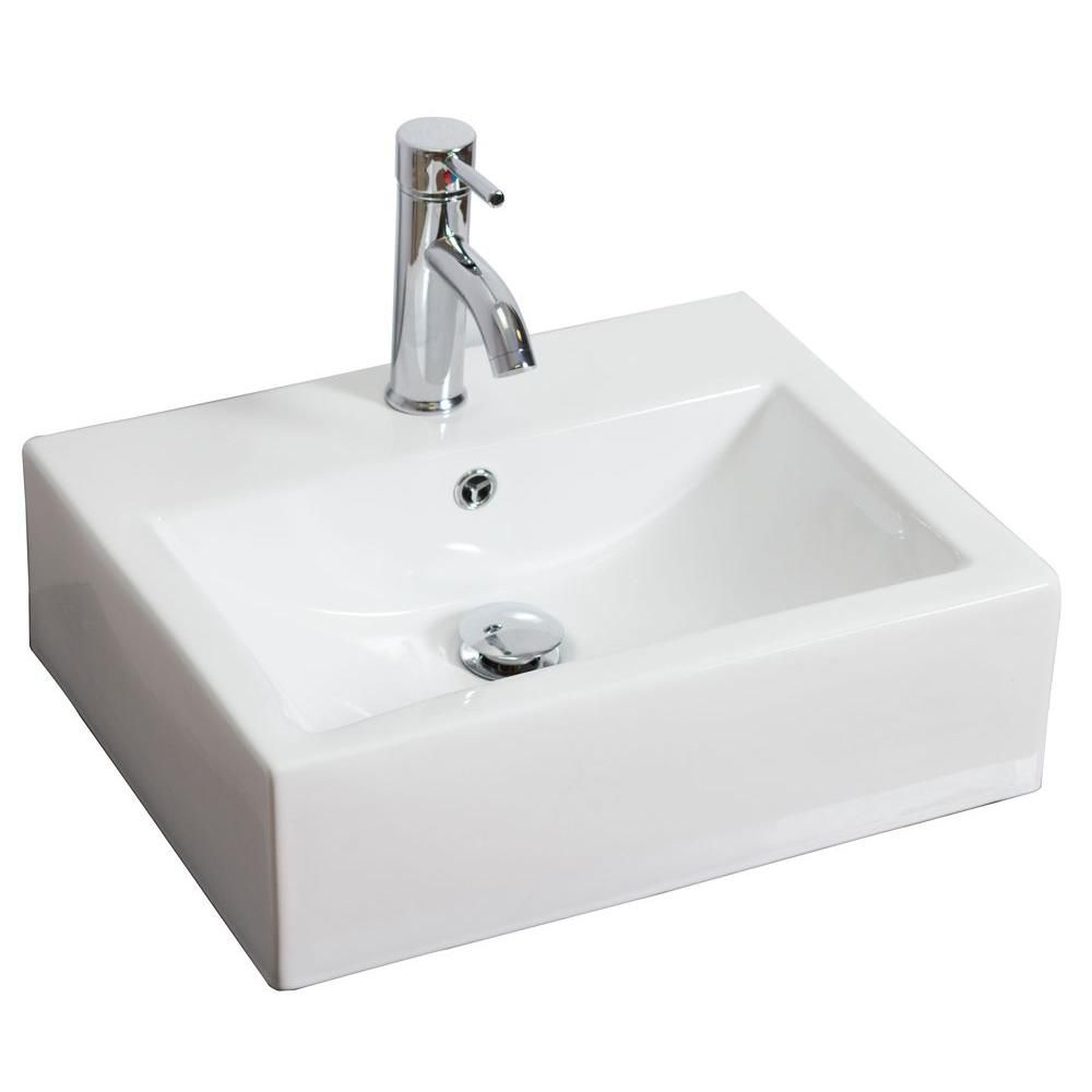American Imaginations 20 1 2 Inch W X 16 Inch D Rectangular Vessel Sink In White With Chrome