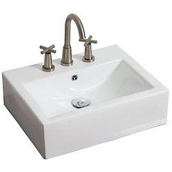 American Imaginations 20,5 po W x 16 po D-dessus contre rectangle navire de couleur blanche pour 8 po robinet oc - nickel brossé