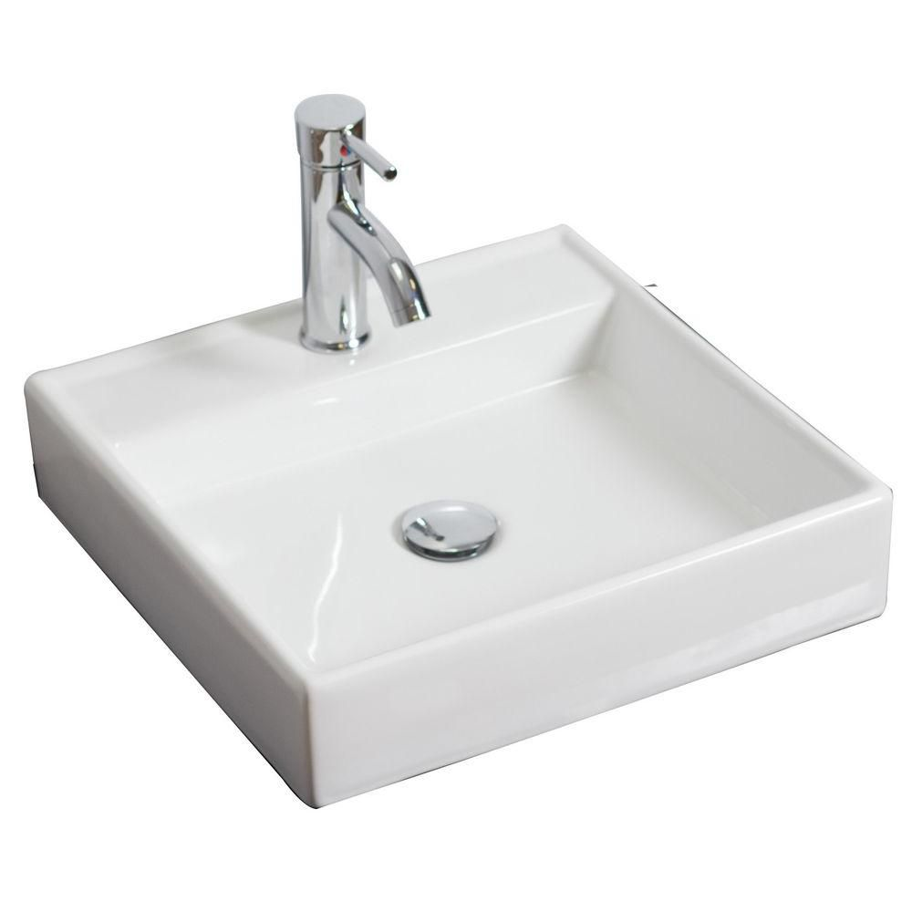 17 1/2-inch W x 17 1/2-inch D Square Vessel Sink in White with Brushed Nickel