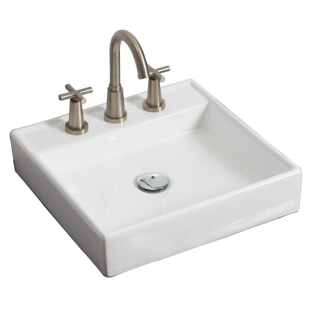 American Imaginations 17 1/2-inch W x 17 1/2-inch D Square Vessel Sink in White with Brushed Nickel