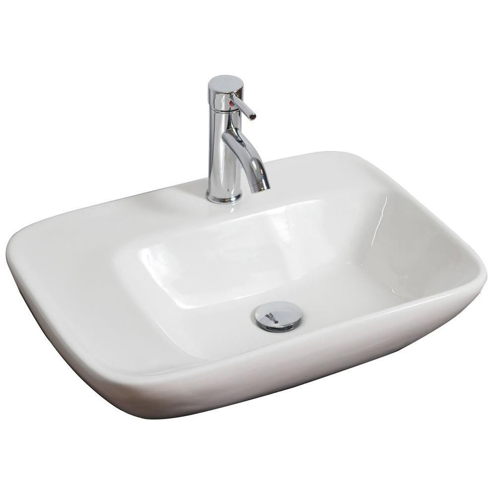 23-inch W x 17-inch D Rectangular Vessel Sink in White with Brushed Nickel