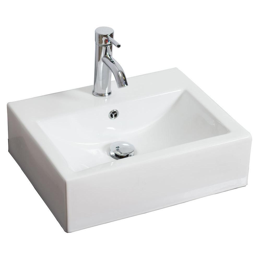 20,5 po W x 16 po D wall mount rectangle navire de couleur blanche pour robinet simple trou - nic...