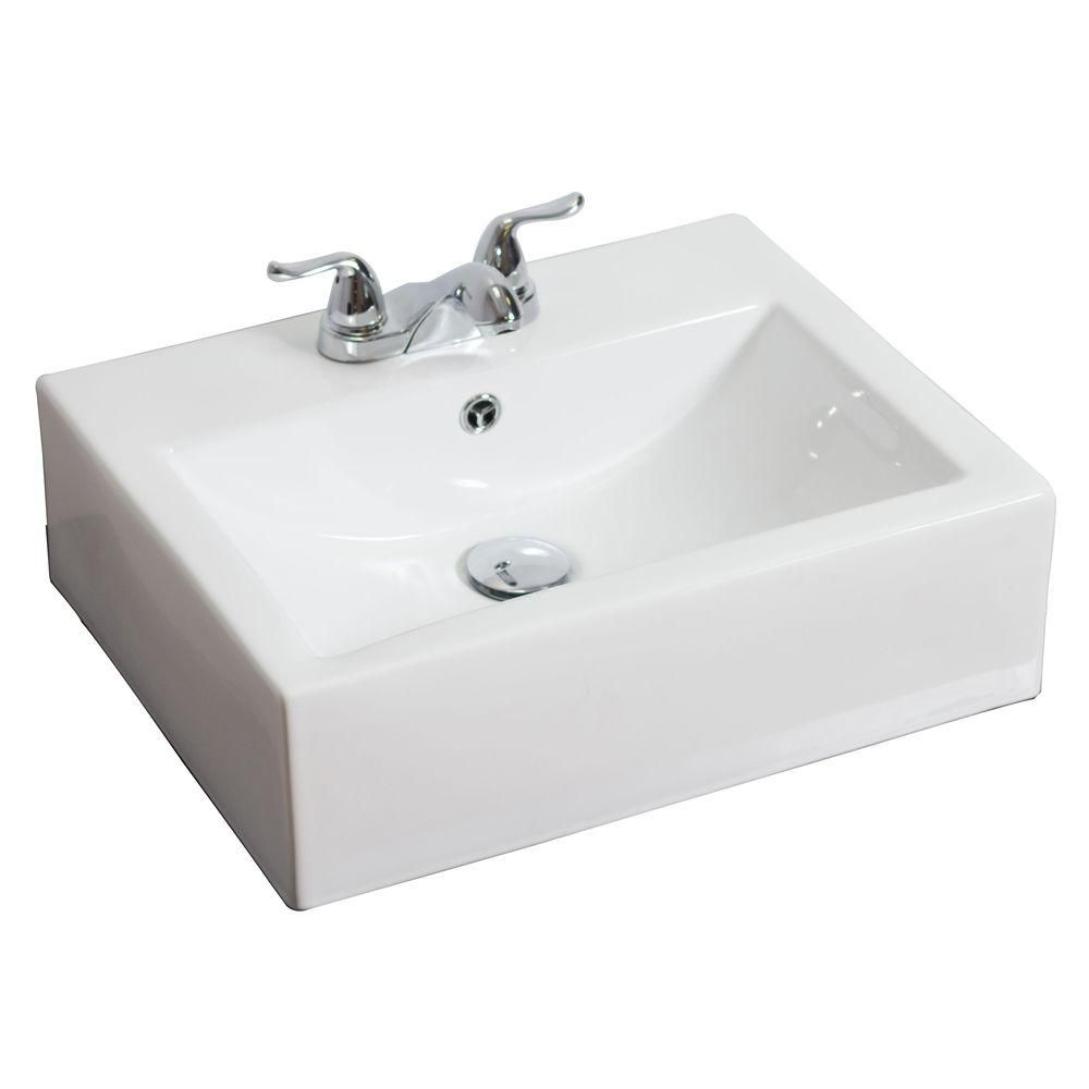 American Imaginations 20 1/2-inch W x 16-inch D Rectangular Vessel Sink in White with Brushed Nickel