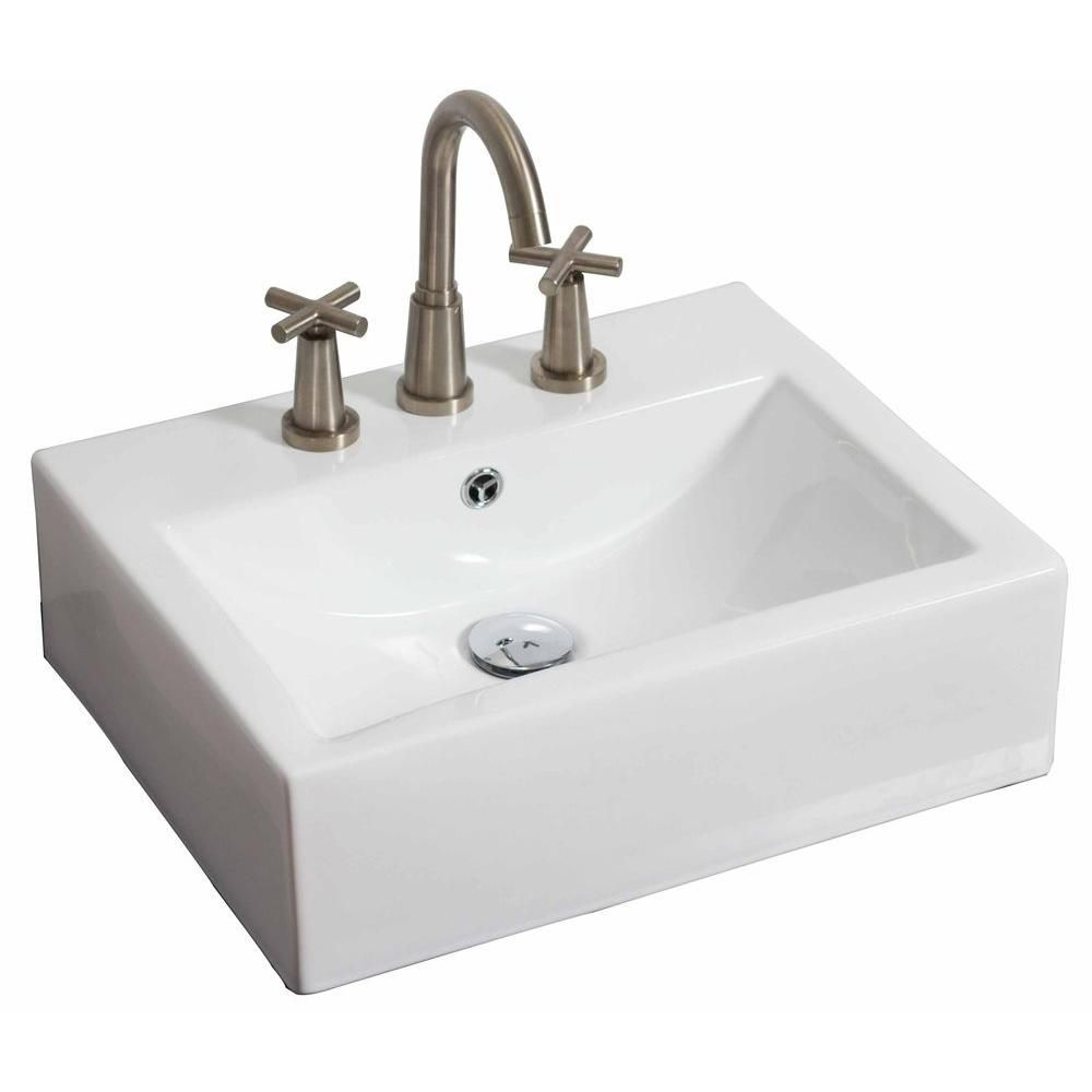 20,5 po W x 16 po mont d mur rectangle navire de couleur blanche pour 8 po robinet oc - nickel br...