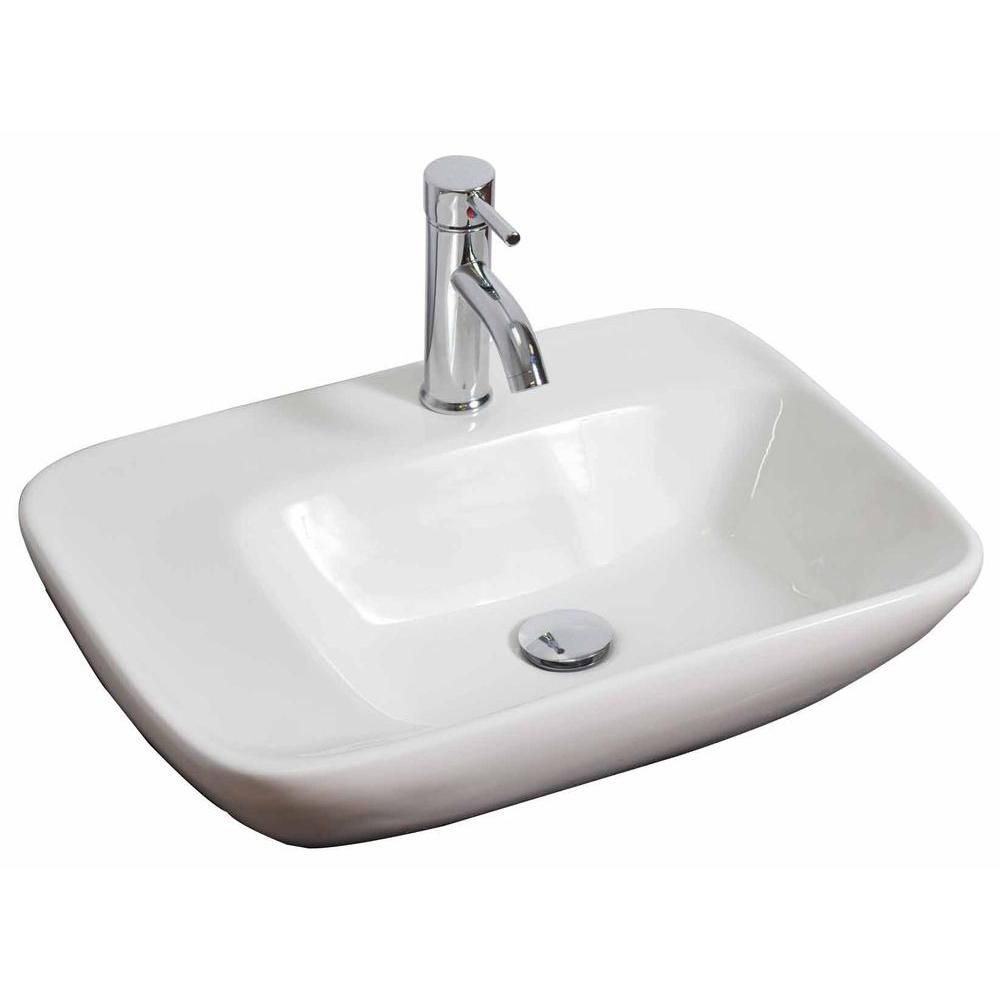 23-inch W x 17-inch D Wall-Mount Rectangular Vessel Sink in White with Brushed Nickel