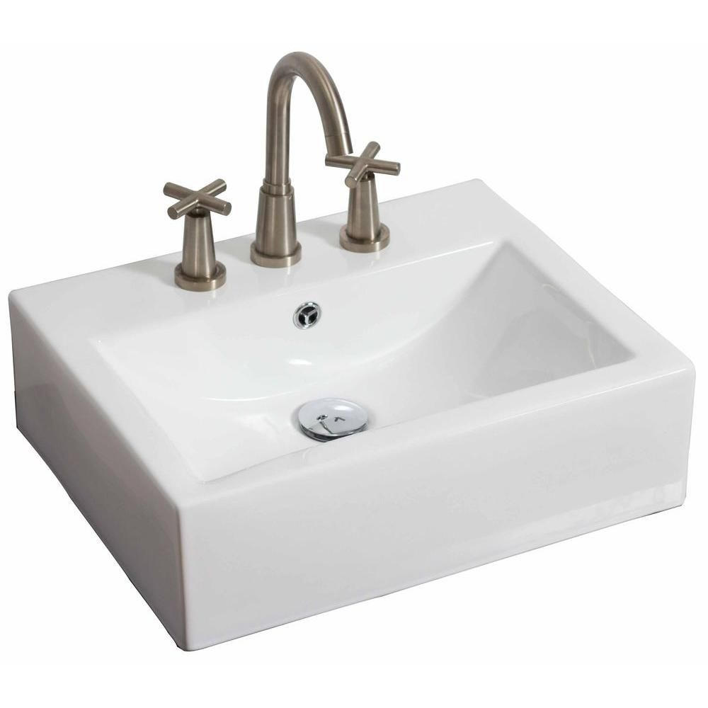 20-inch W x 18-inch D Wall-Mount Rectangular Vessel Sink in White For with Brushed Nickel