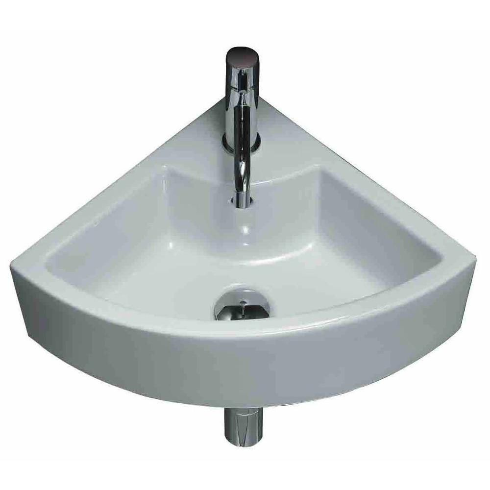 19-inch W x 19-inch D Wall-Mount Round Vessel Sink in White with Brushed Nickel