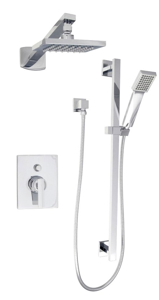 Flow Volume Control Pressure-Balanced Shower Faucet with Sliding Rail and Rain Showerhead in Chro...