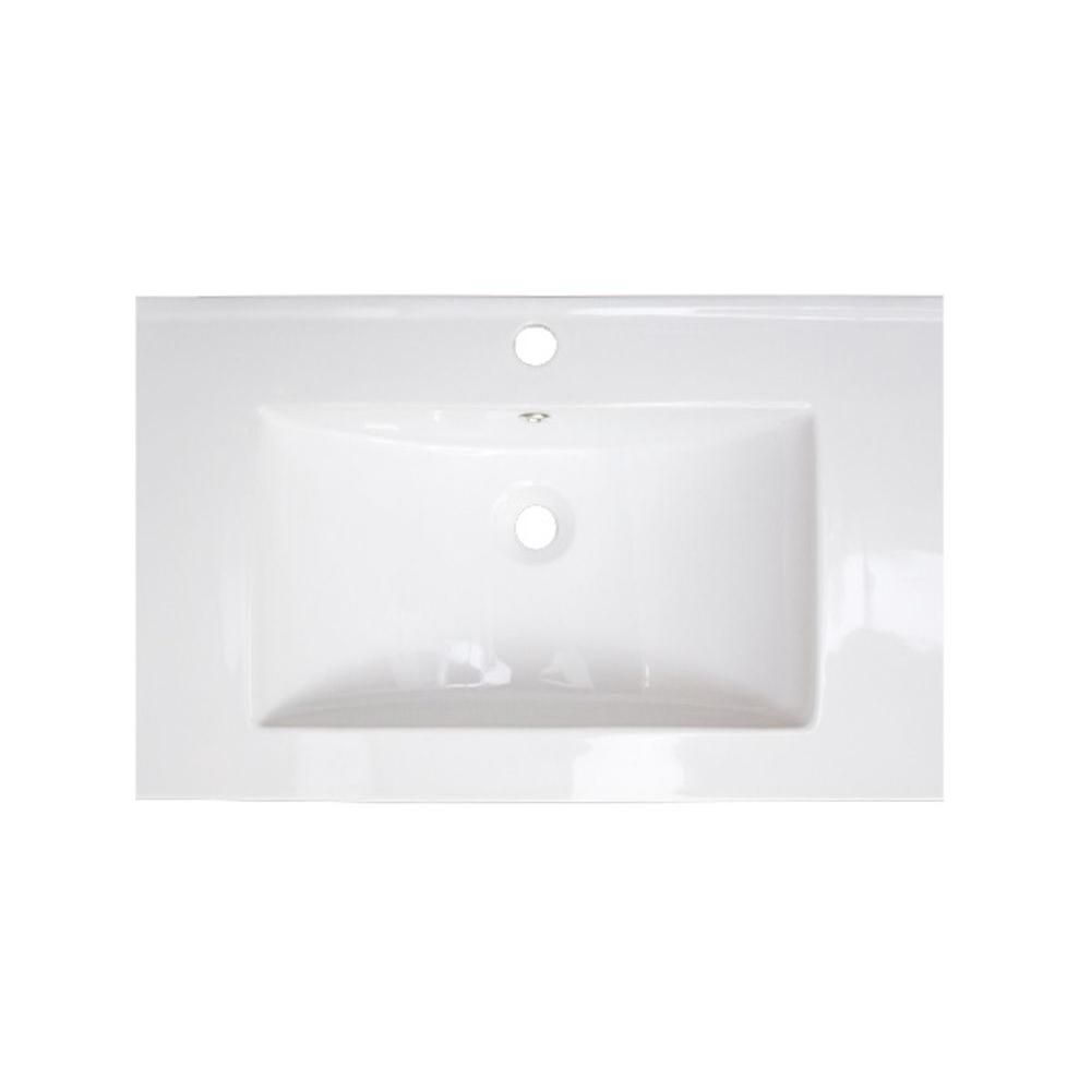30-inch W x 18-inch D Ceramic Top in White for Single Hole Faucet in Brushed Nickel