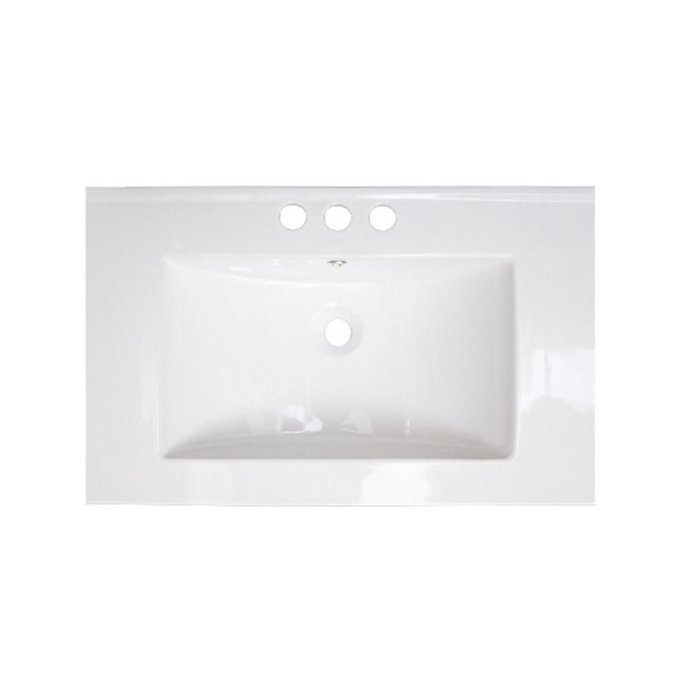 30-inch W x 18-inch D Ceramic Top in White for 4-inch O.C. Faucet in Brushed Nickel
