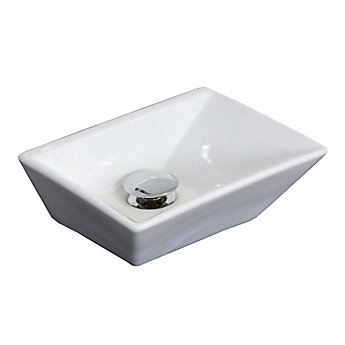 American Imaginations 12 Inch W X 9 D Rectangular Vessel Sink In White With Chrome The Home Depot Canada