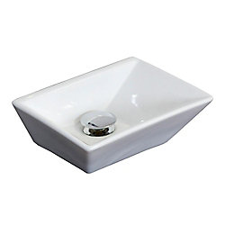 American Imaginations 12-inch W x 9-inch D Rectangular Vessel Sink in White with Brushed Nickel