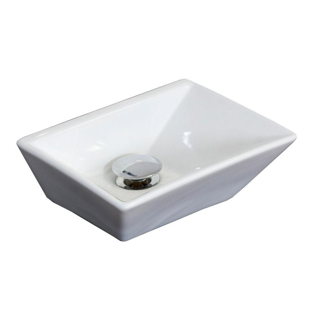 12-inch W x 9-inch D Rectangular Vessel Sink in White with Brushed Nickel