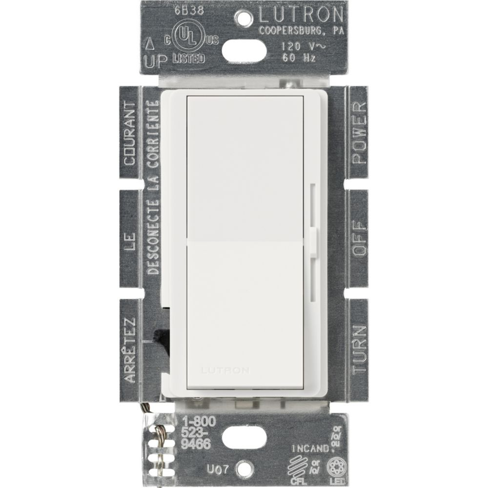 Lutron Diva 250-Watt Single Pole/3-Way CFL/LED Dimmer, White