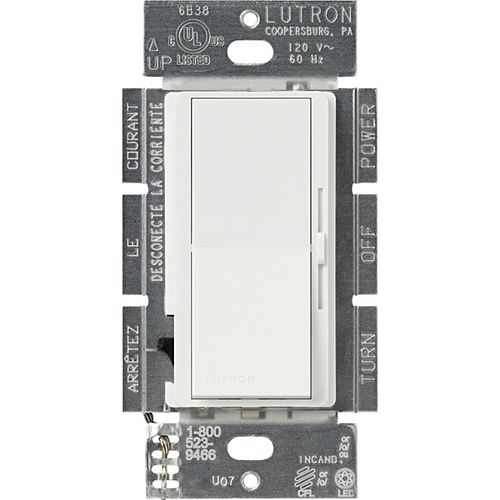 Lutron Diva 250W LED+ Dimmer Switch for Dimmable LED/Hal/Incand, Single-Pole or 3-Way, White