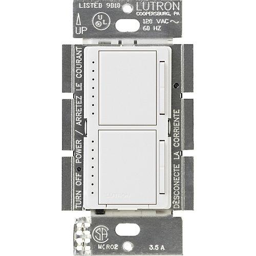 Maestro 300-Watt Single-Pole Dual Digital Dimmer, White