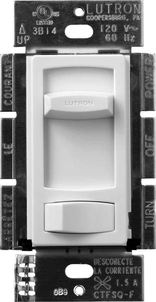 Skylark Contour 1.5 Amp Single Pole/3-Way Quiet 3-Speed Fan Control, White