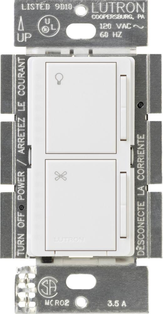 Contrôle auxiliaire de ventilateur et d'éclairage Maestro de Lutron, Blanc