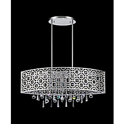 Galant 30-inch Adjustable Oval Laser-Cut Chandelier in Chrome