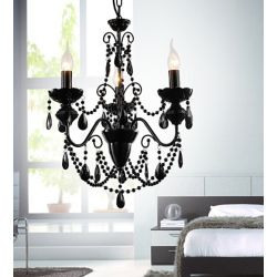 CWI Lighting 3-Light Chandelier with Black Crystals
