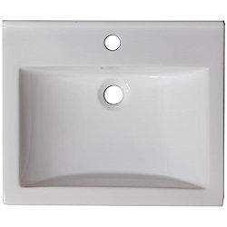 American Imaginations 21 po W x 18.5 po D haut céramique de couleur blanche pour robinet simple trou - chrome