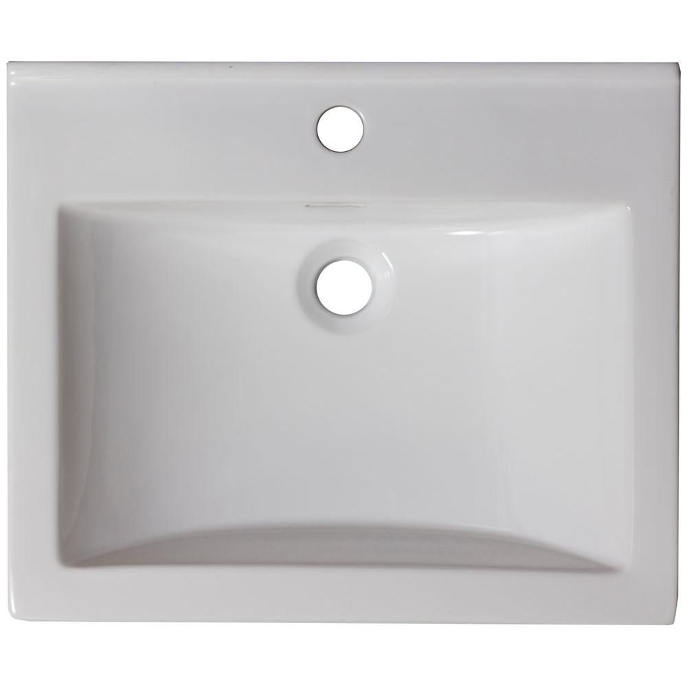 21-inch W x 18 1/2-inch D Ceramic Top in White for Single Hole Faucet in Brushed Nickel