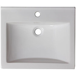 American Imaginations 21-inch W x 18 1/2-inch D Ceramic Top in White for Single Hole Faucet in Brushed Nickel