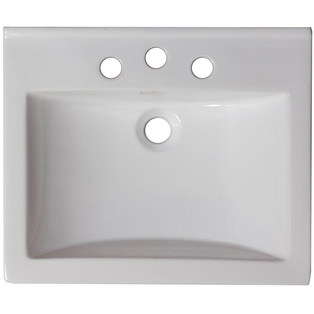 21-inch W x 18 1/2-inch D Ceramic Top in White for 4-inch O.C. Faucet in Brushed Nickel