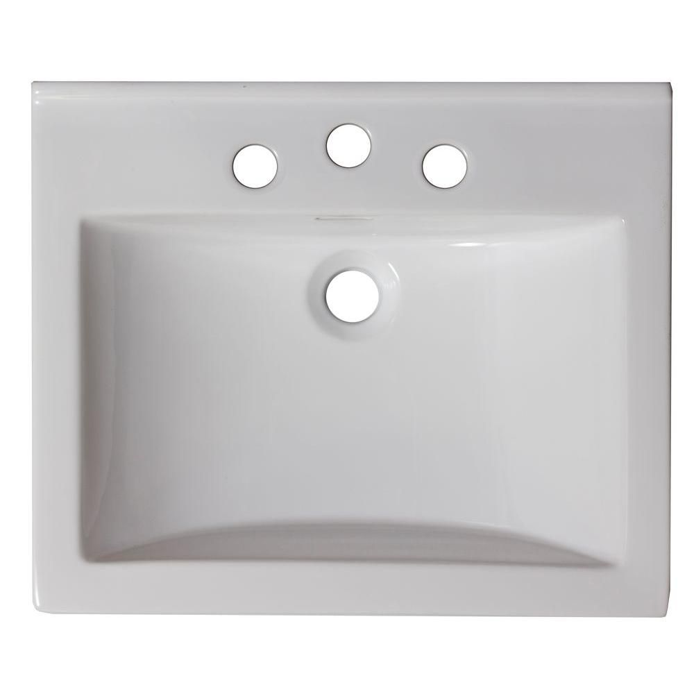 21-inch W x 18 1/2-inch D Ceramic Top in White for 8-inch O.C. Faucet in Brushed Nickel