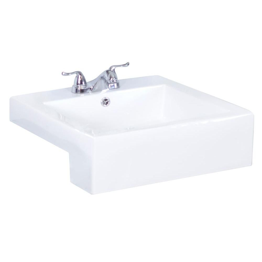20-inch W x 20-inch D Semi-Recessed Rectangular Vessel Sink in White with Brushed Nickel